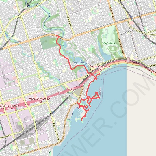 Old mills to humber bay park GPS track, route, trail