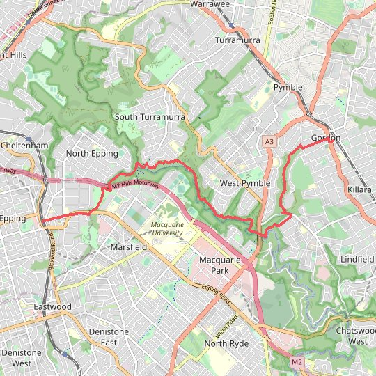 Epping - Gordon GPS track, route, trail