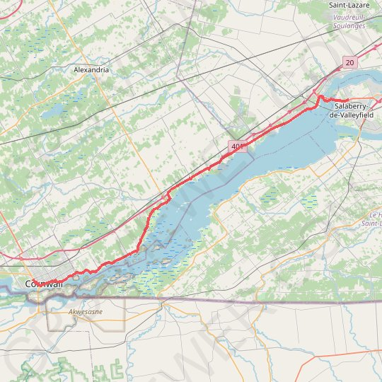 Cornwall - Salaberry-de-Valleyfield GPS track, route, trail