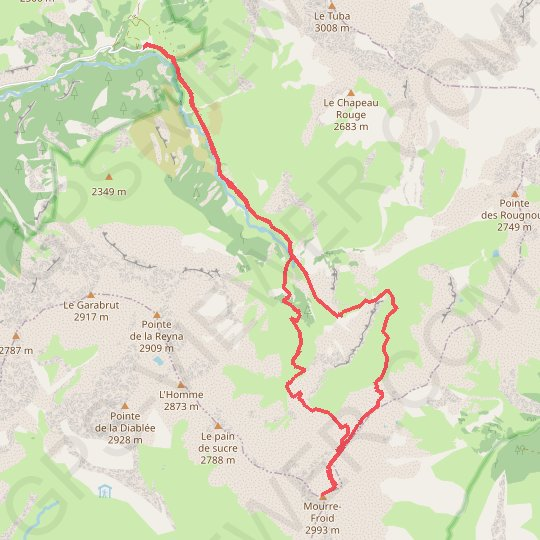 Le Mourre-Froid GPS track, route, trail